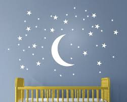 50 stars and moon wall stickers for kids room creative white stars baby wall decals nursery on stars nursery wall art with 50 stars and moon wall stickers for kids room creative white stars