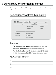 comparison essay template how to write a compare and contrast essay get help at