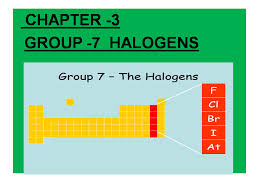 Grade 11: CHAPTER 3 GROUP-7 HALOGENS SEMESTER2