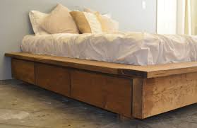 image of king size platform bed wooden