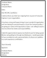 Resignation Template Simple Resignation Letter Example Simple Resignation Letter For