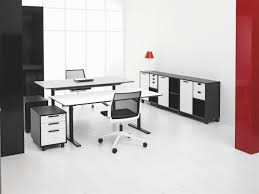 Spaceist - Q-10 electrically height adjustable standing desk in black and  white