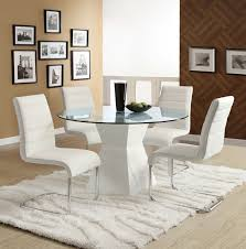 cm8371wh t 5pc 5 pc mauna modern 45 round glass table top white base dining table set
