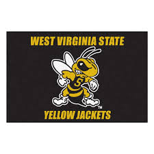 fanmats ncaa west virginia state university yellow jackets logo black 2 ft x 3 ft