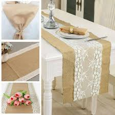 usa hessian burlap table runner weding flower lace natural r