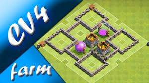 Cv4 Layout De Farm Th4 Farming Base Clash Of Clans Youtube
