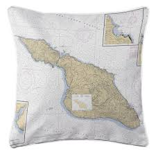 California Nautical Charts Island Girl Ca Santa Catalina Island Ca Nautical Chart Pillow
