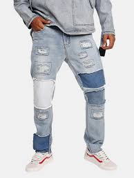 Hot Sale <b>Fashion Mens</b> Design Patchwork Color <b>Stitching</b> Denim ...