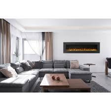 wall mount linear electric fireplace in black
