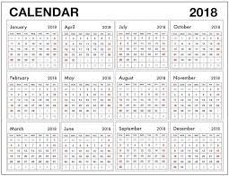 12 Month Calendar 2018 Pdf Blank Calendar Template