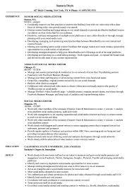 Editor Resume Sample Social Media Editor Resume Samples Velvet Jobs 17