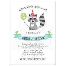 Balloon Birthday Invitations Little Raccoon With Party Hat And Balloon Birthday Invitation For Kids