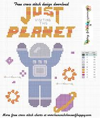 Free Cross Stitch Charts For Beginners Hancocks House Of Happy Space Week Easy Space Themed