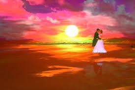 sunset beach wedding painting
