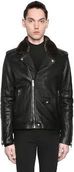 black leather biker jackets the kooples nappa leather biker jacket w faux fur