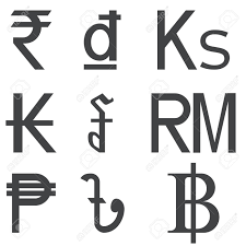 Set Of Southeast Asia Countries Currencies Symbols Isolated On