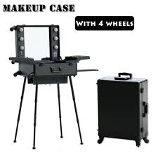 dhl to kazakhstan aluminum lighted makeup station with stand makeup trolley case with lights and 4 legs in cosmetic bags cases from