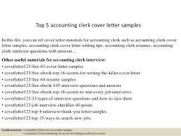 Cover Letter Accounting Clerk Top 5 Accounting Clerk Cover Letter Samples