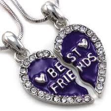 title best friends forever f lavender purple heart pendant necklace clear stone a2