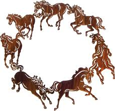 circle of horses wreath metal wall art hanging 20 diameter in honey pinion only