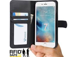 iphone 7 case abacus24 7 wallet case with rfid blocking flip cover pu leather black