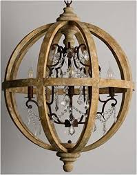 wood and crystal chandeliers chambery distressed wood iron french country orb with crystal
