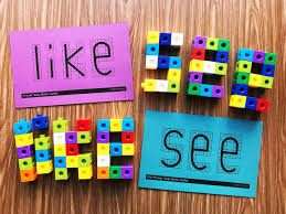 sight word snap block centers from simply kinder use these with snap cubes to work