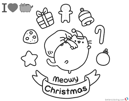 Pusheen Coloring Pages Meomy Christmas Free Printable Coloring Pages