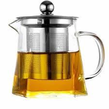 senarai harga 950ml clear glass sqaure teapot high temperature resistant loose leaf flower tea pot with