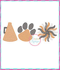Sketch Stitch Cheer Tiger Paw Embroidery