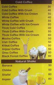 Introducing the latest in our holiday drink lineup: Cafe Crush Menu Menu For Cafe Crush Chakala Mumbai