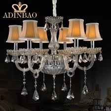 modern k9 crystal chandelier 6 arms glass chandelier chrome led chandelier lamp with fabric lampshade yellow