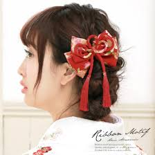楽天市場髪飾り 赤 レッド ピンク 橙 花柄 りぼん リボン 組紐 房飾り
