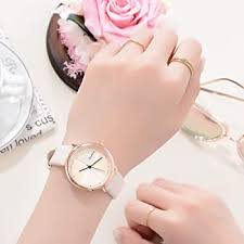 Beige <b>Rose Gold</b> Two-Tone Cross Dial Watches Leather Strap ...