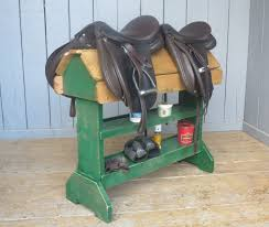 bespoke made to measure saddle racks for horse saddles made from reclaimed pine and painted in