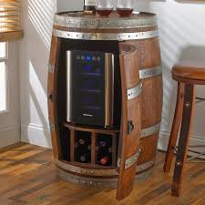 Cabinet With Wine Cooler Reclaimed Wine Barrel With 6 Bottle Wine Refrigerator Wine