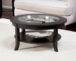 wood and glass coffee table sets round