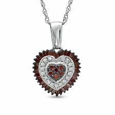 t w enhanced red and white diamond heart pendant in sterling silver