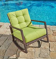 lime green patio furniture. Suncrown Outdoor Furniture Lime Green Patio Rocking Chair | All-Weather Wicker Seat With Thick O