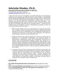 Bioinformatics Resume Doc Adelaide Rhodes Resume August 2018 Adelaide Rhodes
