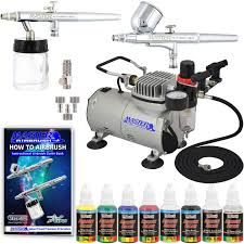 2 airbrushes air compressor 6 air hose airbrush holder 2 quick couplers 1 oz bottles of u s art supply premium artist paint in black red blue