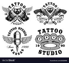 Set Of Monochrome Tattoo Emblems Vector Image On Graphic Design