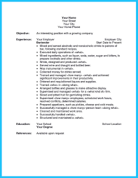 Head Bartender Job Description Sample Restaurant Bartender Resume
