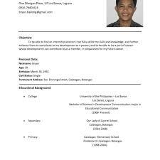 Adorable Pattern Of Resume For Ojt For Sample Resume For Ojt Puter