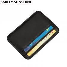 Smiley Sunshine Genuine Leather Card Holder Slim Business Card Id
