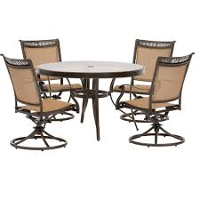 hanover fontana 5 piece aluminum round outdoor dining set with swivels and cast top
