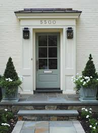 perfect details the color of the painted brick stone the door color door is farrow and blue gray brick color is ben moores linen white