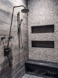 Large Shower Design Ideas Wood Look Tile And Pebbles In Shower Bench Seat Of Stone