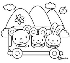 秋の遠足バス旅行のイラストぬりえ 子供と動物のイラスト屋さん