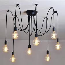 rustic industrial lighting. 10 light cable chandelier in black rustic industrial lighting
